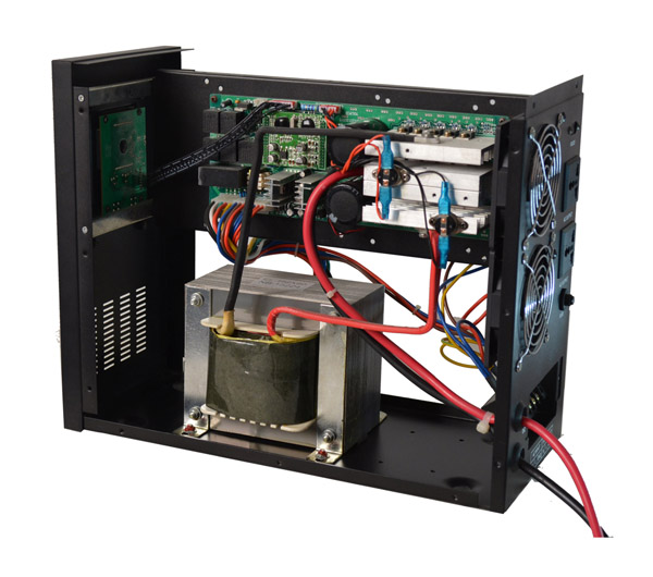 NHDAG系列工频UPS正弦波逆变器产品简介 本产品是大功率工频正弦波逆变电源,在线式逆变器采用CPU集成控制的设计理念,纯正弦波输出,能有效地提高产品的可靠性,可扩展性;抗冲击能力强,且具有:直流电和市电自动切换功能(UPS功能);无人值守,自动恢复功能;市电互补控制功能;市电稳压功能(AVR功能)。 主要功能 1、输出稳压稳频功能:市电电压不稳定,经过本机器后,输出电压精准稳定,如在中国,在电力缺乏的时候,市电电压为190V,53Hz,则经过本机器后,输出电压为220V±3%,50Hz&