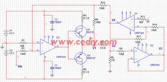 图 2.6 恒流源部分电路 若U3的输入电压为Vin,根据叠加原理,有 由U2的电压跟随特性和U1的反相特性,有 代入得到 即流经R7的电流完全由输入控制电压Vin决定   由于U2的输入端不取电流,流经负载RL的电流完全由输入控制电压Vin决定,实现了压控直流电流源的功能。   由于R7中流过的电流就是恒流源的输出电流,按照题目要求,输出的直流电流需要达到2A,这里采用康锰铜电阻丝作为电阻R7。   (4)电流测量采样电路的设计   如前所述,恒流源的输出电流值完全由图2.